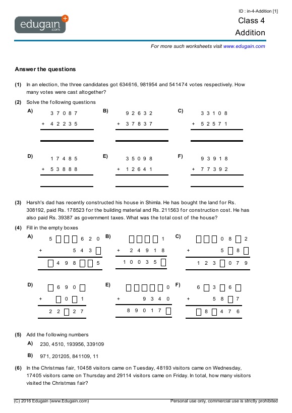 math worksheet : math grade 4 canada  educational math activities : Addison Wesley Math Worksheets