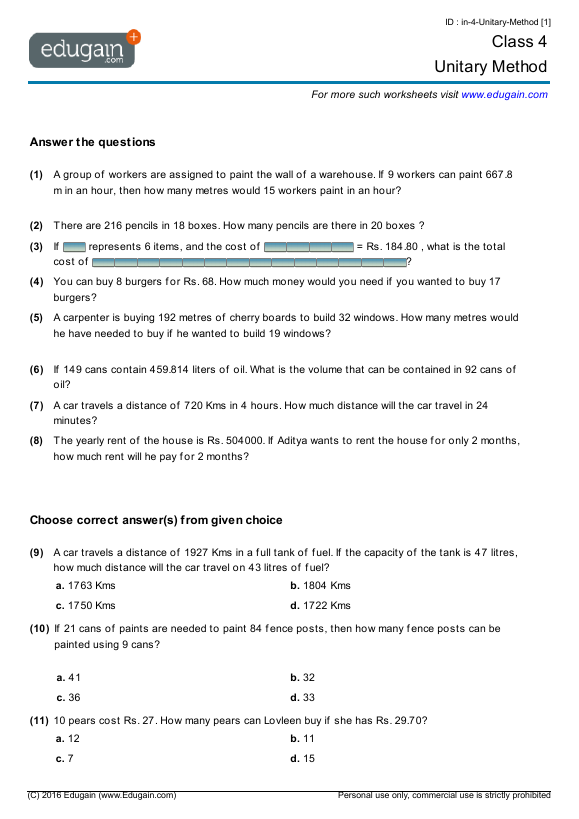 math worksheet : grade 4 math worksheets and problems unitary method  edugain canada : Free Math Worksheets Grade 5