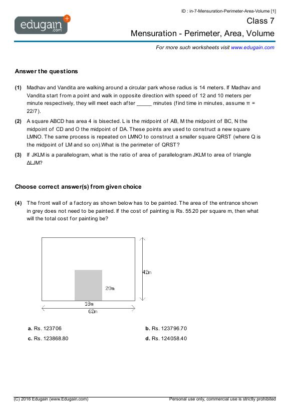 math worksheet : grade 7 math worksheets and problems mensuration  perimeter  : Gr 7 Math Worksheets