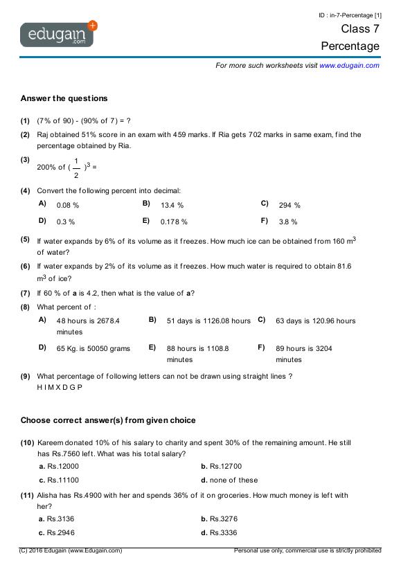 math worksheet : grade 7 math worksheets and problems percentage  edugain canada : Online Maths Worksheets