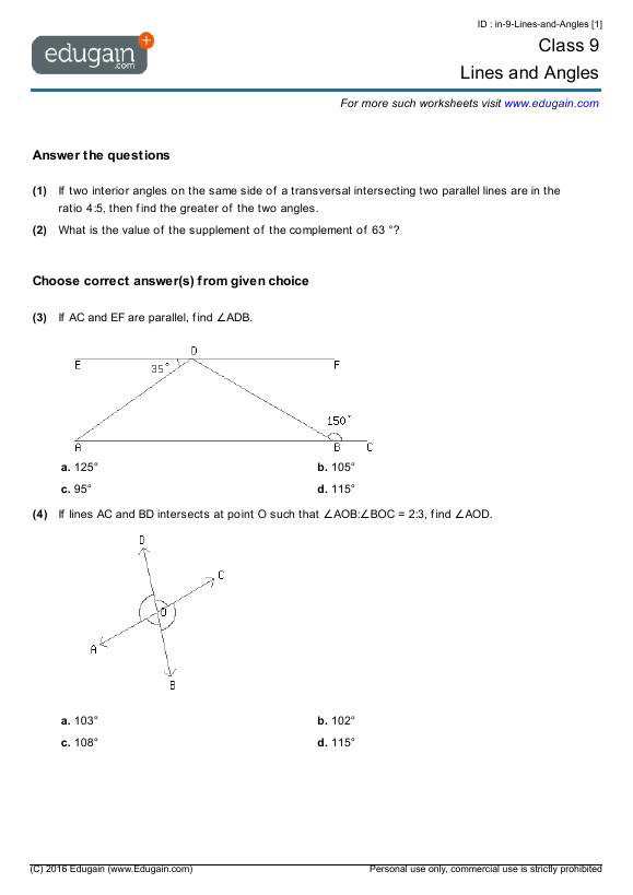 Free Math Worksheets Grade 9 Printable – 9th Grade Math Worksheets Printable